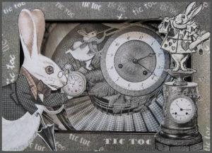 Tic toc! Teatrino sul Bianconiglio Illustrazione tridimensionale