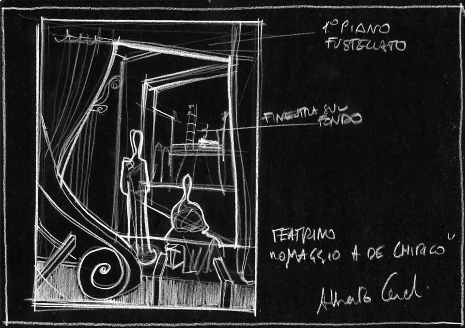 Teatrino metafisico su De Chirico: schizzo iniziale